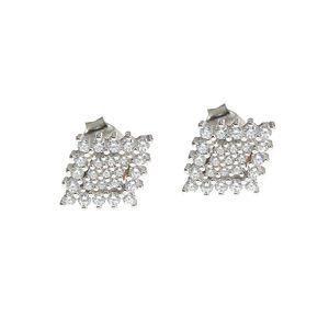 Cercei din argint in forma de romb
