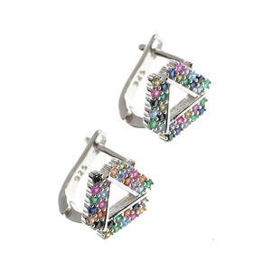 Cercei din argint design triunghi cu pietre multicolore