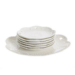 Set alb pentru tort 7 buc