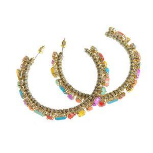 Cercei aurii cu pietre colorate