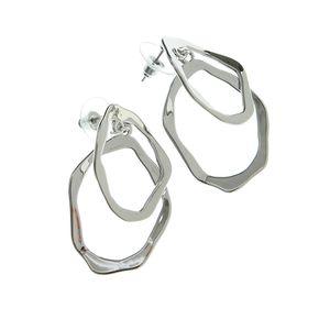 Cercei argintii cu cercuri suprapuse