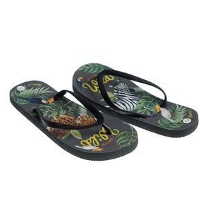 Papuci negri de plaja cu print safari