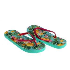Papuci verzi cu print exotic