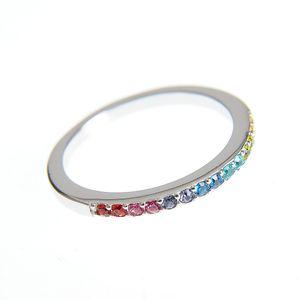 Inel de argint cu pietre zirconice multicolore