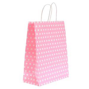 Punga de cadou roz cu buline 26 x 33 cm