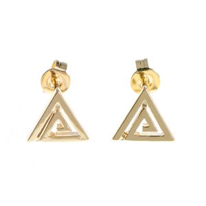 Cercei placati cu aur  forma triunghi