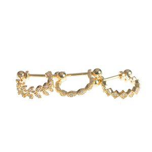 Set 3 piercinguri din  otel auriu cu modele diferite
