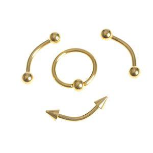 Set 4 piercinguri  aurii din otel pentru spranceana