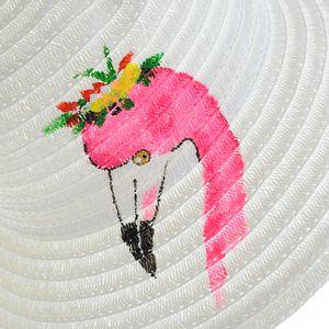 Palarie alba de vara cu flamingo