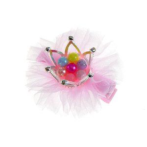 Agrafa roz de copii cu coroana