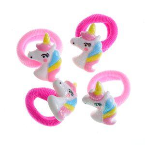 Set 4 elastice de par roz cu unicorni