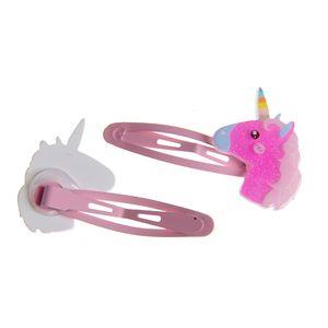 Set 2 clame de par roz cu unicorn