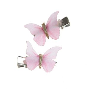 Set 2 agrafe de par cu fluturi roz