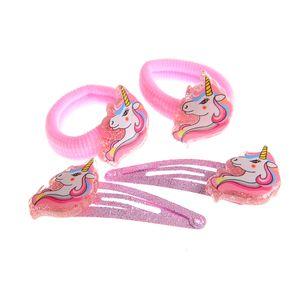 Set 4 accesorii de par roz cu unicorn