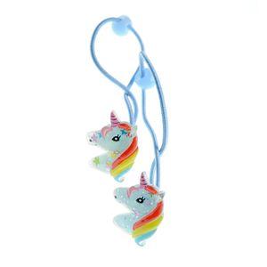 Set 2 elastice de par albastre cu unicorn