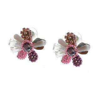 Cercei metalici cu floare roz