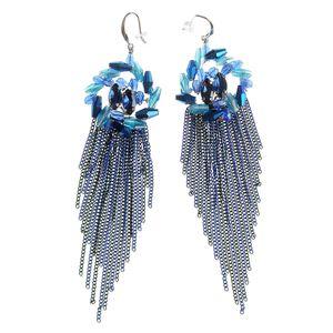 Cercei in nuante de albastru cu franjuri metalici