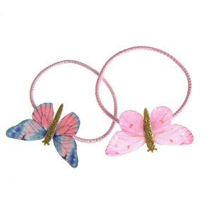 Set 2 elastice de par roz cu fluturi