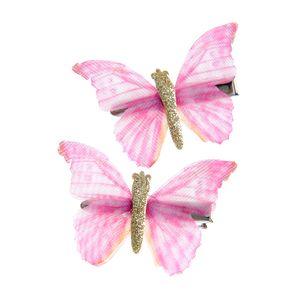 Set 2 agrafe cu fluturi roz