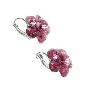 Cercei flori roz cu cristale Swarowski