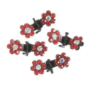 Set 4 clesti de par cu flori rosii