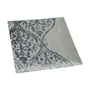 Farfurie patrata din ceramica cu model 24 cm