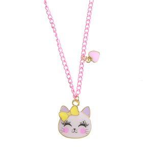 Colier roz cap de pisica