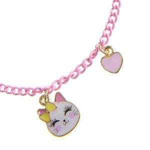 Bratara roz cu pandantiv pisica
