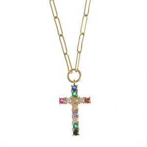 Colier din otel cu pandantiv cruce si pietre multicolore