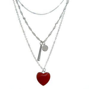 Colier triplu argintiu cu pandantiv inima