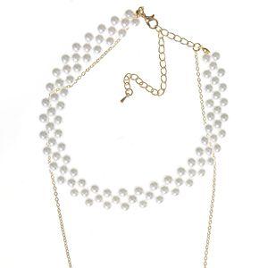 Colier dublu cu perle acrilice albe