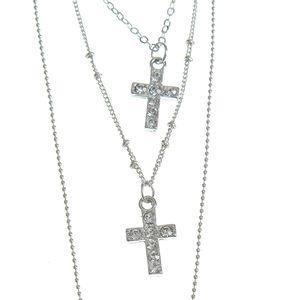 Colier argintiu 4 in 1 cu pandantive cruci