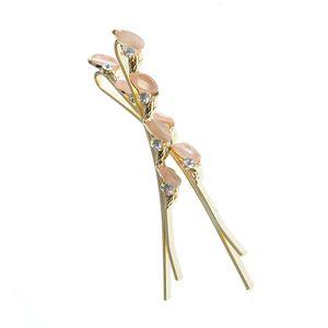 Set 2 agrafe aurii cu frunze roz