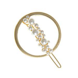 Agrafa rotunda cu perle acrilice albe