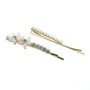 Set 2 agrafe aurii cu flori  si perle acrilice