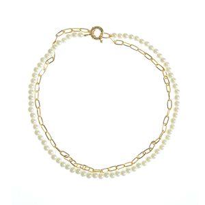 Colier dublu cu perle albe si zale aurii