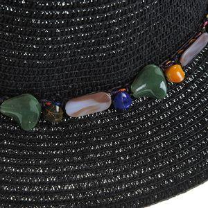 Palarie neagra cu decor pietre colorate