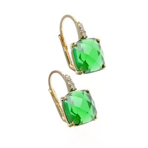 Cercei placati cu aur si piatra verde