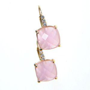 Cercei placati cu aur si piatra roz